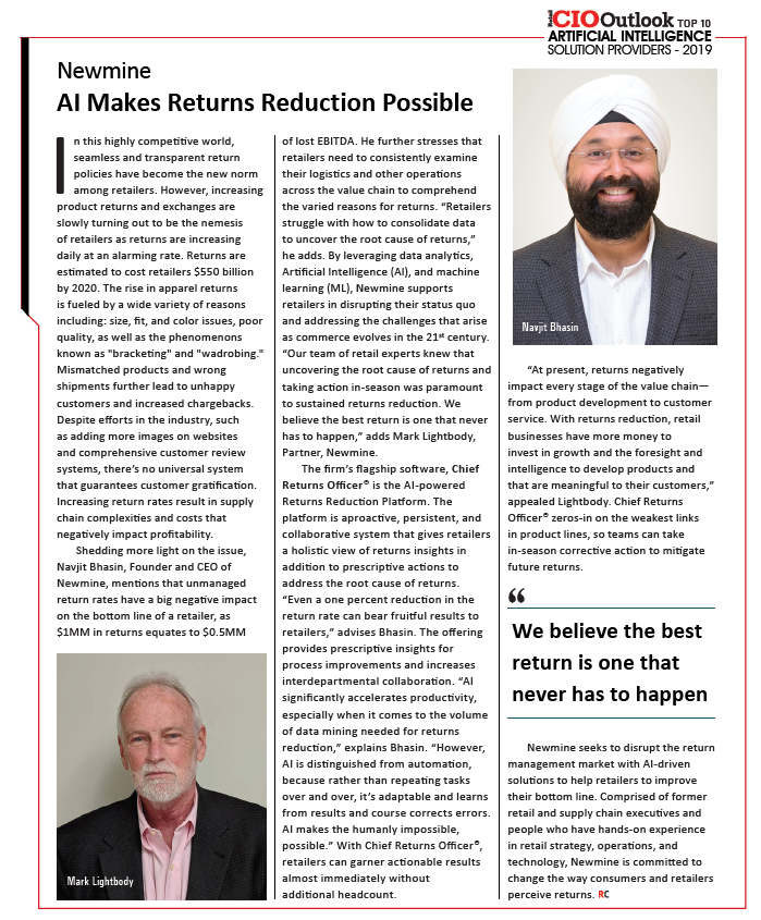 Newmine's feature in Retail CIO Outlook